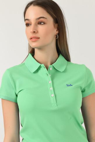 UCLA - SHAVER Yeşil Polo Yaka Nakışlı Kadın Tshirt