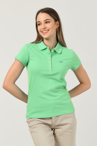 UCLA - SHAVER Yeşil Polo Yaka Nakışlı Kadın Tshirt (1)