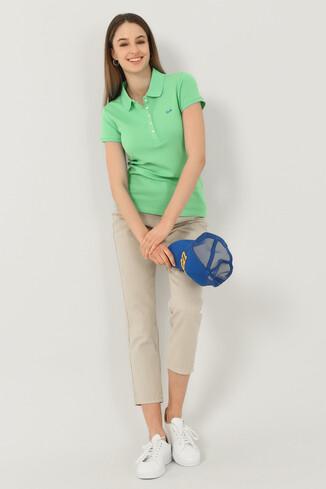 SHAVER Yeşil Polo Yaka Nakışlı Kadın Tshirt - Thumbnail (4)