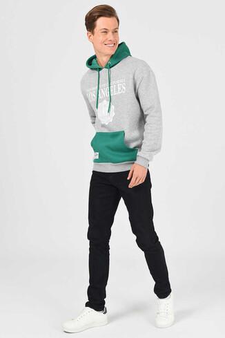 UCLA - SHELL Gri Oversize Kapüşonlu Baskılı Erkek Sweatshirt