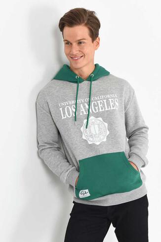 UCLA - SHELL Gri Oversize Kapüşonlu Baskılı Erkek Sweatshirt (1)