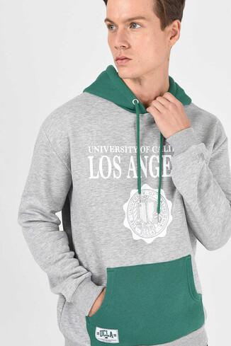 SHELL Gri Oversize Kapüşonlu Baskılı Erkek Sweatshirt - Thumbnail (2)