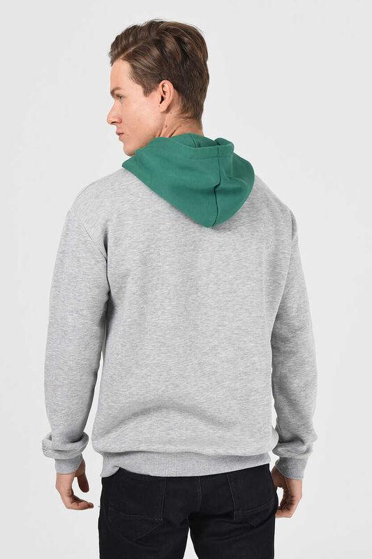 SHELL Gri Oversize Kapüşonlu Baskılı Erkek Sweatshirt - Thumbnail