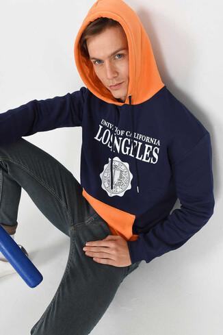 UCLA - SHELL Lacivert Oversize Kapüşonlu Baskılı Erkek Sweatshirt