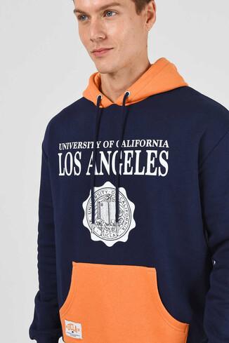 UCLA - SHELL Lacivert Oversize Kapüşonlu Baskılı Erkek Sweatshirt (1)