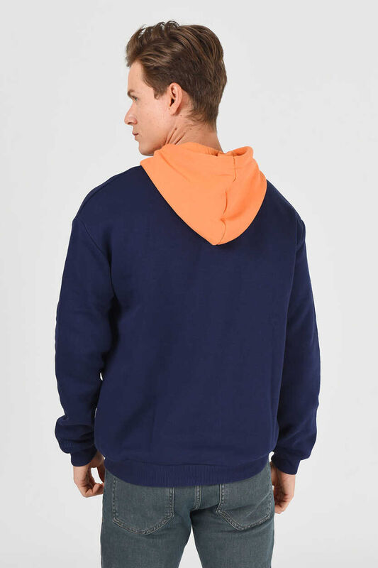 SHELL Lacivert Oversize Kapüşonlu Baskılı Erkek Sweatshirt - Thumbnail