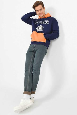 SHELL Lacivert Oversize Kapüşonlu Baskılı Erkek Sweatshirt - Thumbnail (4)