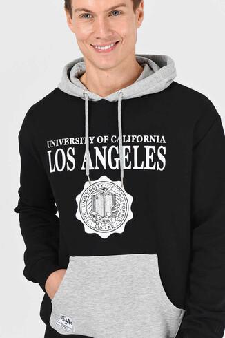 UCLA - SHELL Siyah Oversize Kapüşonlu Baskılı Erkek Sweatshirt