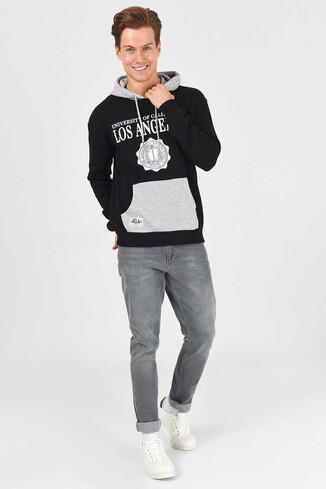 UCLA - SHELL Siyah Oversize Kapüşonlu Baskılı Erkek Sweatshirt (1)