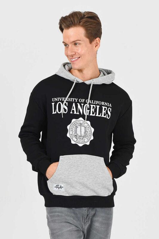 SHELL Siyah Oversize Kapüşonlu Baskılı Erkek Sweatshirt - Thumbnail