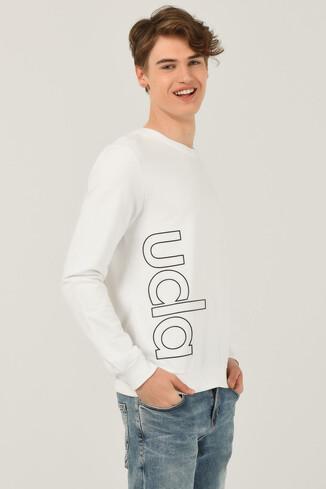 UCLA - SIEMON Beyaz Bisiklet Yaka Baskılı Erkek Sweatshirt (1)
