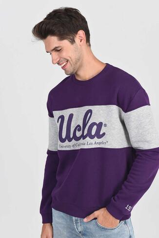 UCLA - SIGNAL Mor Oversize Bisiklet Yaka Baskılı Erkek Sweatshirt (1)