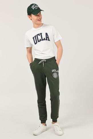 UCLA - SOLONA Yeşil Daralan Kesim Baskılı Erkek Eşofman Alt