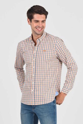 UCLA - SOLVANG Turuncu Çizgili Erkek Gömlek