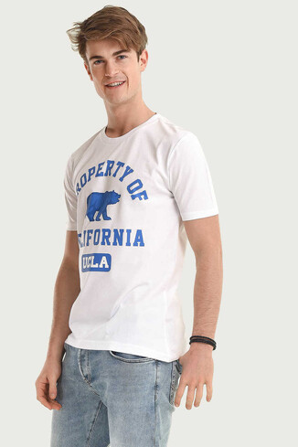 UCLA - STANTON Beyaz Bisiklet Yaka Erkek T-shirt