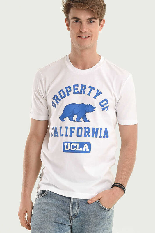 STANTON Beyaz Bisiklet Yaka Erkek T-shirt - Thumbnail