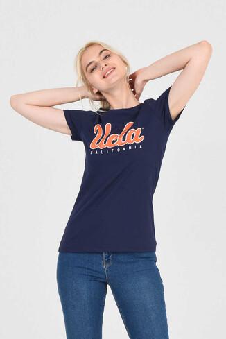 UCLA - TRACY Lacivert Bisiklet Yaka Kadın T-shirt