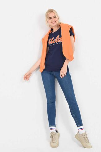 TRACY Lacivert Bisiklet Yaka Kadın T-shirt - Thumbnail (5)