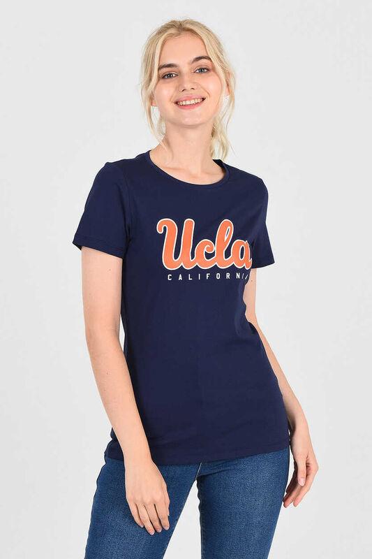 TRACY Lacivert Bisiklet Yaka Kadın T-shirt - Thumbnail