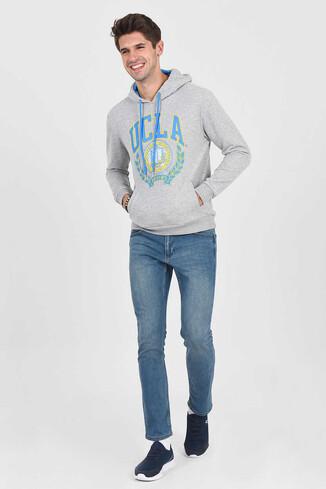 UCLA - TULARE Gri Kapüşonlu Erkek Sweatshirt (1)
