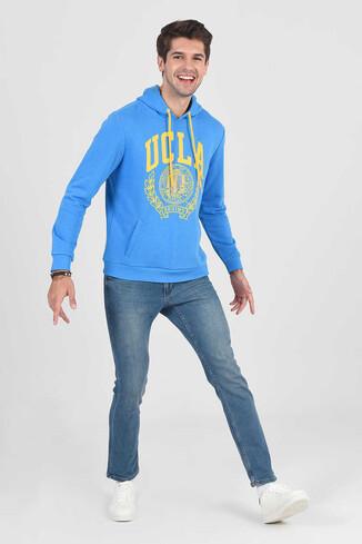 UCLA - TULARE Mavi Kapüşonlu Erkek Sweatshirt