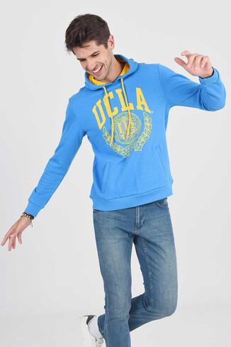 UCLA - TULARE Mavi Kapüşonlu Erkek Sweatshirt (1)