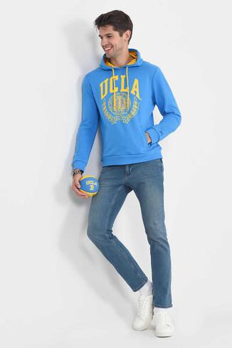 TULARE Mavi Kapüşonlu Erkek Sweatshirt - Thumbnail (2)