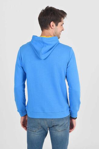 TULARE Mavi Kapüşonlu Erkek Sweatshirt - Thumbnail (4)