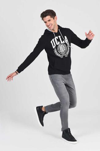 UCLA - TULARE Siyah Kapüşonlu Erkek Sweatshirt