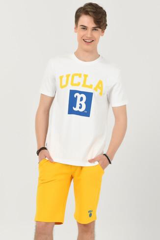 UCLA - TUSTIN Beyaz Bisiklet Yaka Erkek T-shirt (1)