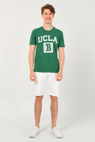 TUSTIN Yeşil Bisiklet Yaka Erkek T-shirt - Thumbnail (2)