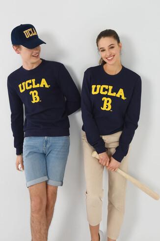UCLA - VALE Lacivert Bisiklet Yaka Baskılı Erkek Sweatshirt
