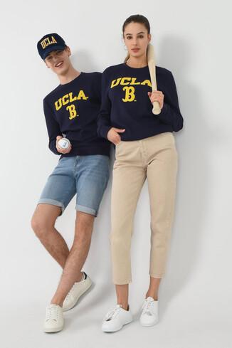 UCLA - VALE Lacivert Bisiklet Yaka Baskılı Erkek Sweatshirt (1)