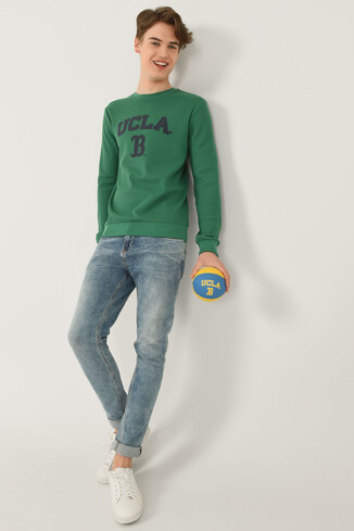 UCLA - VALE Yeşil Bisiklet Yaka Baskılı Erkek Sweatshirt