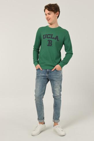 UCLA - VALE Yeşil Bisiklet Yaka Baskılı Erkek Sweatshirt (1)