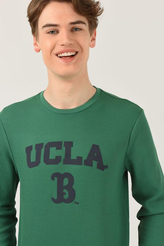 VALE Yeşil Bisiklet Yaka Baskılı Erkek Sweatshirt - Thumbnail