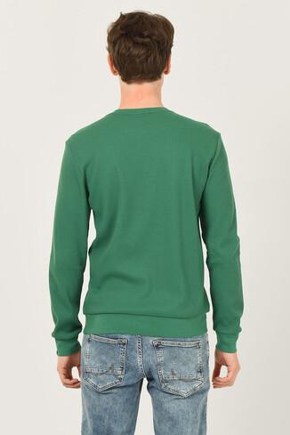 VALE Yeşil Bisiklet Yaka Baskılı Erkek Sweatshirt - Thumbnail (4)