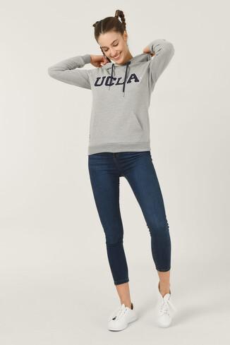 UCLA - VALENCIA Gri Kapüşonlu Kadın Sweatshirt