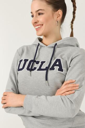UCLA - VALENCIA Gri Kapüşonlu Kadın Sweatshirt (1)