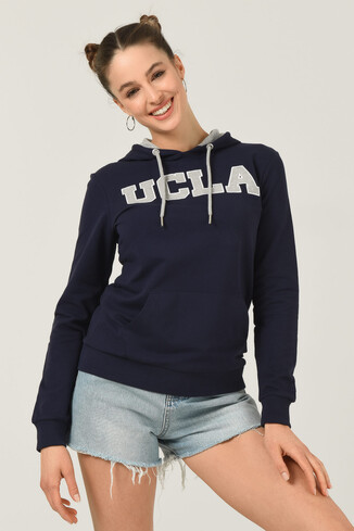 UCLA - VALENCIA Lacivert Kapüşonlu Kadın Sweatshirt (1)