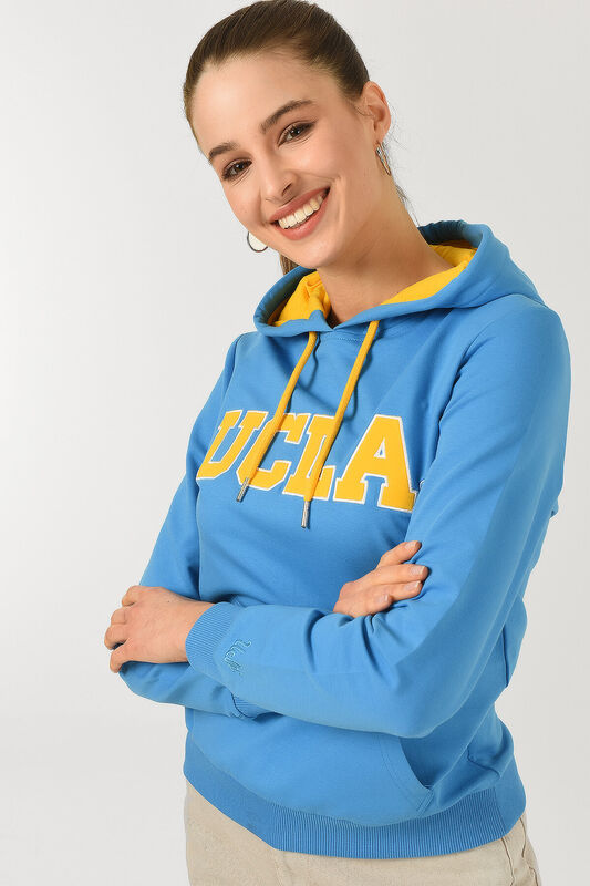 VALENCIA Mavi Kapüşonlu Kadın Sweatshirt - Thumbnail