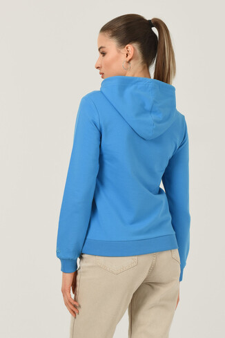 VALENCIA Mavi Kapüşonlu Kadın Sweatshirt - Thumbnail (3)
