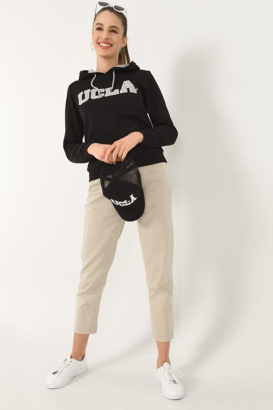 VALENCIA Siyah Kapüşonlu Kadın Sweatshirt - Thumbnail