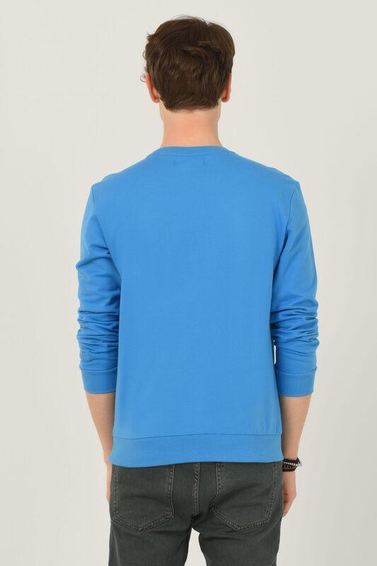 VALLEY Mavi Bisiklet Yaka Baskılı Erkek Sweatshirt - Thumbnail