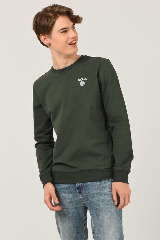 VALLEY Yeşil Bisiklet Yaka Baskılı Erkek Sweatshirt - Thumbnail
