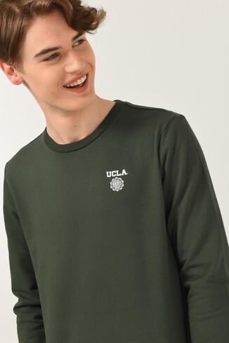 UCLA - VALLEY Yeşil Bisiklet Yaka Baskılı Erkek Sweatshirt (1)