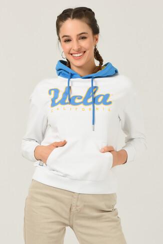 UCLA - VISALIA Beyaz Kapüşonlu Baskılı Kadın Sweatshirt (1)
