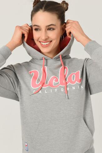 UCLA - VISALIA Gri Kapüşonlu Baskılı Kadın Sweatshirt