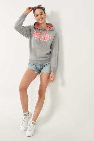 UCLA - VISALIA Gri Kapüşonlu Baskılı Kadın Sweatshirt (1)