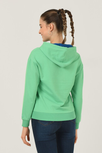 VISALIA Mint Kapüşonlu Kadın Sweatshirt - Thumbnail (3)